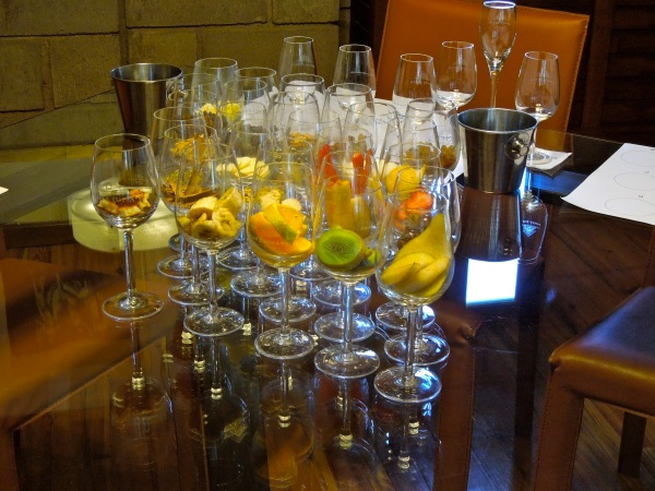The lineup of odors to look for in the wine